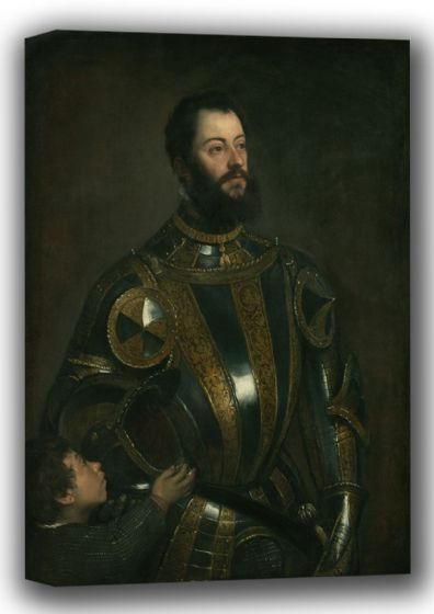 Titian (Tiziano Vecellio): Portrait of Alfonso d'Avalos, Marquis of Vasto, in Armor with a Page. Fine Art Canvas. Sizes: A4/A3/A2/A1 (001953)